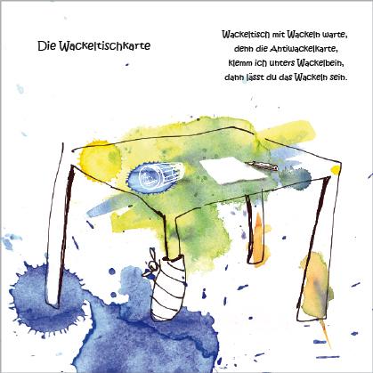 """Kunstpostkarte """"Wackeltischkarte"""" von Gennadi Isaak und Erwin Grosche"""