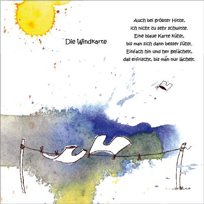 """Kunstpostkarte """"Windkarte"""" von Gennadi Isaak und Erwin Grosche"""